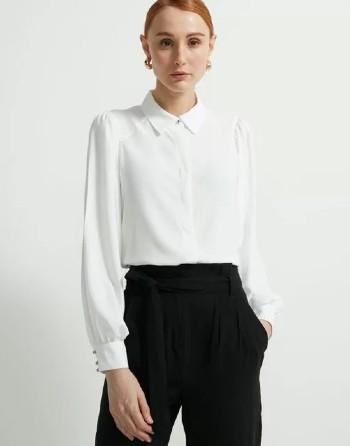 Camisa Manga Longa Bufante em Crepe com Botão Aparente na Gola - Renner