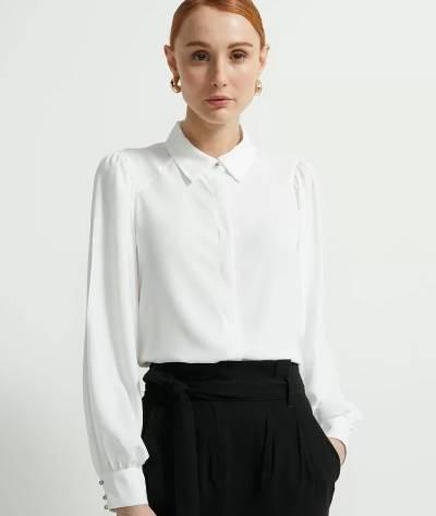 Camisa branca manga longa bufante Renner-SempreBem